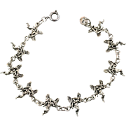 Fairy Bracelet, Sterling Silver, Vintage Bracelet, Linked Links, Fairies, Fantasy Jewelry, New Age, Romantic