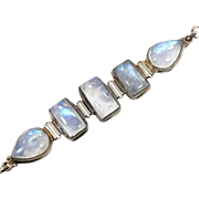 Moonstone Bracelet, Sterling Silver, Link Bracelet, Vintage Jewelry, White Blue Stones, Glowing, Gemstones, Heavy Silver, Moonstone Jewelry
