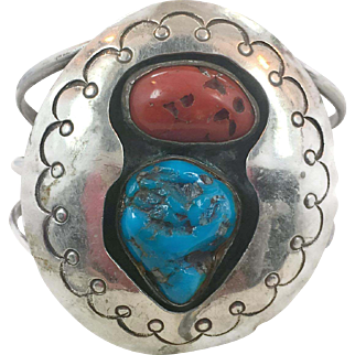 Turquoise Coral Cuff, Shadowbox Setting, Vintage Bracelet, Sterling Silver, Native American, Wide, Big, Massive, Southwestern, Handcrafted