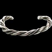 Sterling Silver, Cuff Bracelet, Vintage Bracelet, Navajo, Heavy, Native American, Small Wrist, Twisted Pattern, Boho Jewelry, Stacking