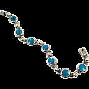 Turquoise Bracelet, Sterling Silver, Mexico, Links, Linked, Vintage Bracelet, 925 Silver, Bohemian, Southwestern, Layer, Stack, Boho