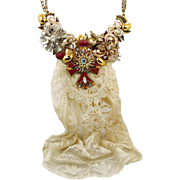 Assemblage Necklace, Bib Necklace, Big Statement, Vintage Jewelry, Cross Rhinestones, Mixed Media, Neo-Victorian, Steampunk, Repurposed