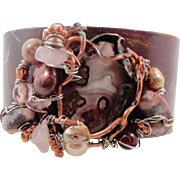 Rhodonite Copper Cuff Bracelet - Pink Gray - Unique Forged & Woven with Pearls More - InVintageHeaven