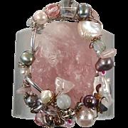 Rose Quartz Cuff, Boho Bracelet, Pearl Cuff, Wire Wrapped, Pink Bracelet, Grey Silver, Pastel, Big Statement, Bohemian, Unique, Wide Large