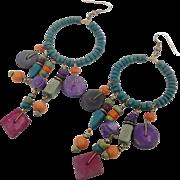 """Boho Earrings, Big Hoops, Colorful, Vintage Earrings, 1980s, Purple, Turquoise, Green, 5"""" Long, Dangle, Gypsy, Hippie, 80s, Rainbow, Pierced"""