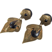 Brass Earrings, Vintage Earrings, Patina, Massive, Black Huge, Big Statement, Long, Boho Bohemian, Gypsy Earrings, Oversized, Mixed Media