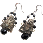 Buddha Earrings, Silver Earrings, Unique, Bohemian, Big Statement, Dangle Long, Pierced Dangle, Black Glass Beads, Yoga Jewelry, Patina