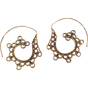 Boho Earring, Unique Swirl, India Brass, Big Statement, Vintage Pierced, Large Hoops, Ethnic Tribal, Festival Jewelry, Vintage Jewelry