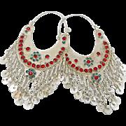 "Big Kuchi Earrings, Gypsy Dangles, Vintage Earrings, Ethnic Tribal, Afghan Jewelry, 5"" Long, Boho Statement, Huge Hoops, Silver Blue Red"