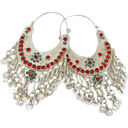 "Big Kuchi Earrings, Gypsy Dangles, Vintage Earrings, Ethnic Tribal, Afghan Jewelry, 5"" Long, Boho Statement, Huge Hoops, Silver Blue Red"