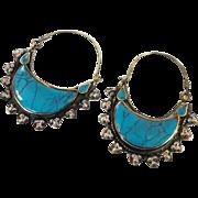 Big Hoop Earrings, Gypsy Boho, Vintage Earrings, Kuchi Earrings, Blue, Turquoise, Silver, Mixed Metal, Ethnic Jewelry, Afghan, Hippie, Large