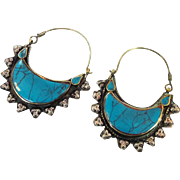 Big Hoop Earrings, Gypsy Boho, Vintage Earrings, Kuchi Earrings, Blue, Turquoise, Silver, Mixed Metal, Ethnic Jewelry, Afghan, Hippie, Large