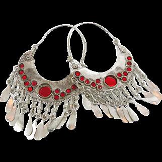 Gypsy Earrings, Kuchi Afghan, Huge Hoops, Vintage Earrings, Red Mirrors, Ethnic Tribal, Belly Dance, Bollywood, Boho Statement, Bohemian