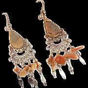 Jasper Earrings, Peruvian, Gypsy Earrings, Silver, Vintage Earrings, Brown Stone, Boho, Long Dangles, Big Earrings, Hippie, Statement