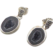 Black Druzy Earrings, Black Geode, Drusy Stone, Vintage Earrings, Sterling Silver, Dangle, Pierced Posts, Studio Handcrafted, Unique