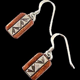 Copper Earrings, Sterling Silver, Native American, Vintage Earrings, Mixed Metal, Stamped Design, Pierced, Dangle, Southwestern, Signed