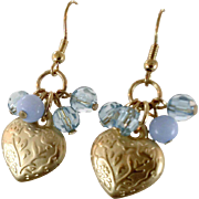 Heart Earrings, Brass, Boho Jewelry, Dangle Earrings, Pierced, Heart Charms, Romantic Love. Pale Blue, Glass Beads, Periwinkle, Gold Metal