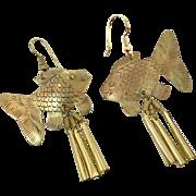 Fish Earrings, Brass Earrings, Pierced Earrings, Vintage Jewelry, Dangles, Pierced, Large, Massive, Lightweight, Boho Statement, Hippie, NOS