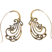 "Bohemian Earrings, Bollywood, India Brass, Big Statement, Vintage Pierced, Ethnic Tribal, 2"" Long, Swirls Unique Unusual, Festival Jewelry"