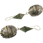 "Afghan Earrings, Vintage Earrings, Big, Statement,, Kuchi, Patterned, Green Inlay, Gypsy, Mixed Metals, 3.5"" Long, Festival Jewelry, Massive"