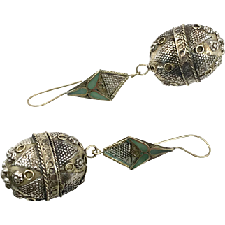 """Afghan Earrings, Vintage Earrings, Big, Statement,, Kuchi, Patterned, Green Inlay, Gypsy, Mixed Metals, 3.5"""" Long, Festival Jewelry, Massive"""