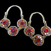 Big Hoop Earrings, Gypsy Jewelry, Purple, Red, Vintage Earrings, Afghan Jewelry, Boho, Bohemian, Statement, Ethnic Tribal, Festival, Hippie