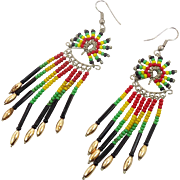 Rainbow Earrings, Beaded, Vintage Earrings, Black, Yellow, Green, Pierced, Dangle, Peru, Boho Gypsy, Long, Bohemian, Hippie Festival