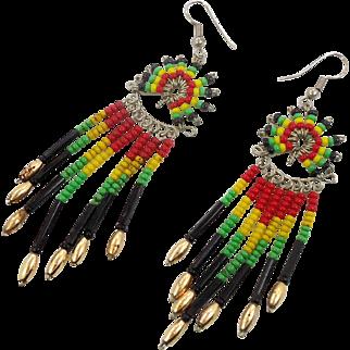 Rainbow Earrings, Beaded, Vintage Earrings, Black, Yellow, Green, Pierced, Dangle, Peru, Boho Gypsy, Long, Bohemian, Hippie Festival