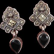 Marcasite Earrings, Black Onyx, Sterling Silver, Vintage Earring, Pierced, Dangles, Posts, Art Nouveau Style, Art Deco Inspired, Sparkling