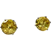 Yellow Stud Earrings, Faux Diamond, Yellow Diamond, Vintage Earrings, Pierced Posts, Crystal, Stud Earrings, Faux Citrine, Silver Yellow Stud Earrings, Faux Diamond, Yellow Diamond, Pierced Posts, Crystal, Stud Earrings, Faux Citrine