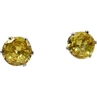 Yellow Stud Earrings, Faux Diamond, Yellow Diamond, Vintage Earrings, Pierced Posts, Crystal, Stud Earrings, Faux Citrine, Silver Yellow Stud Earrings, Faux Diamond, Yellow Diamond, Pierced Posts, Crystal, Stud Earrings, Faux Citrine