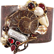 Ammonite forged brass cuff bracelet - Woven with pearl, shells s & more, One of a kind - InVintageHeaven