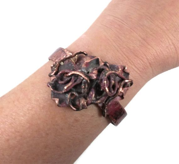 Brutalist bracelet copper cuff forged fused