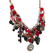 Charm Necklace Bracelet - Vintage Assemblage - Red n Black - InVintageHeaven