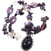 Big Amethyst Pendant Necklace - Sterling Silver - Beaded Bohemian - InVintageHeaven