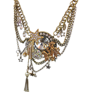 Star Moon Fairy Golden Rhinestone Vintage Assemblage Necklace - Big statement - InVintageHeaven