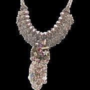Pink Bird Rhinestone Bib Necklace - OOAK Large Piece - Big Statement - InVintageHeaven