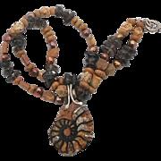 Ammonite Beaded Necklace - Quartz Pearls Jasper - Brown & Earth Tones - InVintageHeaven