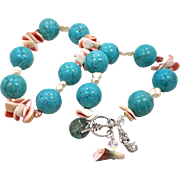 Mermaid Turquoise Howlite, Shell & Pearl Necklace - Beaded Statement Piece - InVintageHeaven
