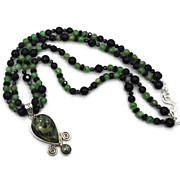 Serpentine Adventurine Sterling Silver Necklace - Beaded Black Double Strand - InVintageHeaven