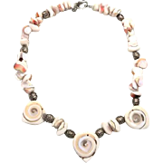 Carved Shiva Shell sterling silver necklace - Beaded Bali beads - Bohemian Beach Style - InVintageHeaven
