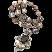 Smoky Quartz, Pearl Amethyst, Sterling Silver, Beaded Necklace, Sterling Pendant, Boho Statement, Bohemian, Stone Jewelry, Multi Gemstones