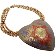 Boho Necklace, Brass Heart, Big Statement, Vintage Assemblage, Choker, Purple Yellow Green, Gold Metal, Bohemian, Chains, Repurposed