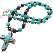 Turquoise & Onyx Cross - Beaded Necklace - Sterling Silver - InVintageHeaven