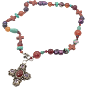 Cross Necklace, Amethyst, Carnelian, Sterling Silver, Vintage Necklace, Purple Stone, Beaded, Boho Statement, Amethyst Pendant, Mixed Beads
