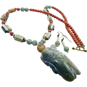 Jade Necklace, Carved Stone, Jade Pendant, Cicada, Lucky Necklace, Beaded, Handcrafted, Green Orange, Earrings, Big Statement, Boho