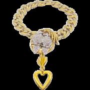 Love Birds Rhinestone Vintage Assemblage Necklace - Big Gold Statement Runway Piece - InVintageHeaven