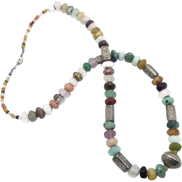Stone Beaded Necklace - Quartz Amethyst Agate & Metal - Long Statement Necklace - Boho Ethnic Tribal - InVintageHeaven