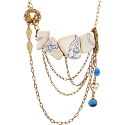 Blue & White Pottery Shard Bib Necklace - Vintage Assemblage - InVintageHeaven