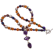 Amethyst Necklace, Sterling Silver, Purple & Amber, Beaded Boho, InVintageHeaven